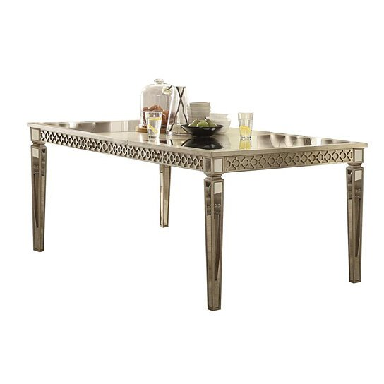 . Contemporary Style Wood and Mirror Dining Table  Silver and Beige