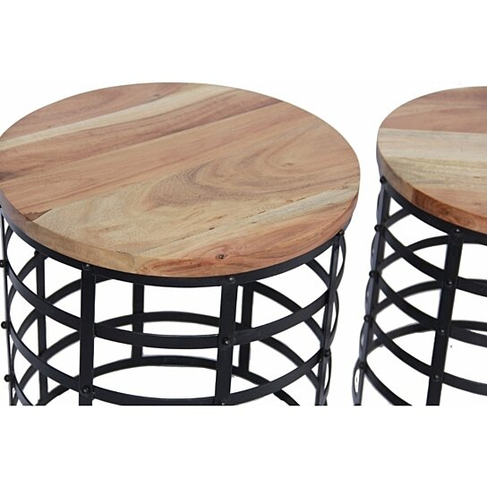 Buy The Urban Port Round Top Nesting Coffee Tables Black