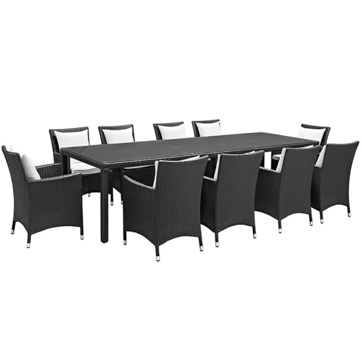"Convene 11 Piece Outdoor Patio Dining Set, Espresso White Size : 39.5""lx114\""wx29.5\""h"