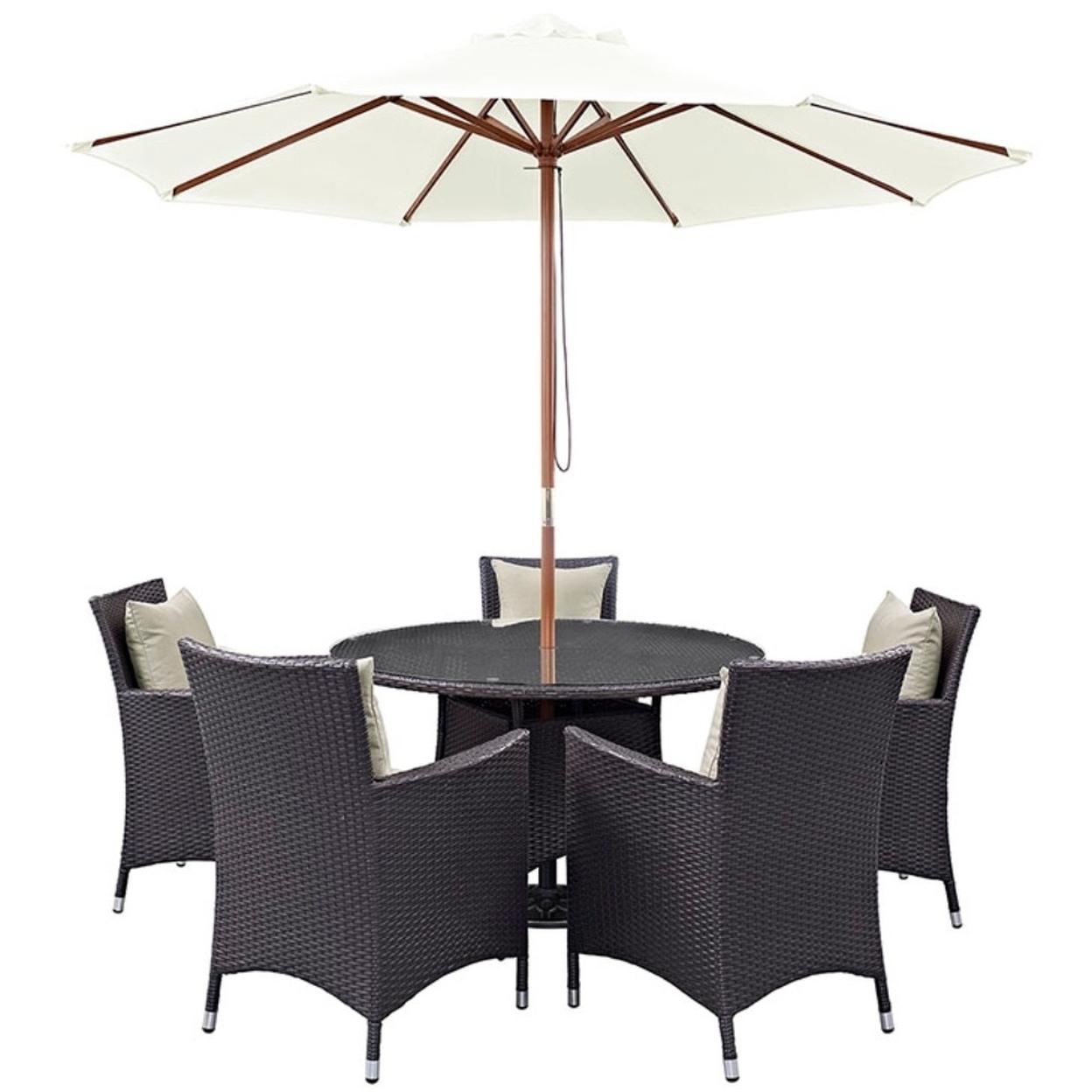 "Convene 7 Piece Outdoor Patio Dining Set, Espresso Beige Size : 47\""lx47\""wx29\""h"