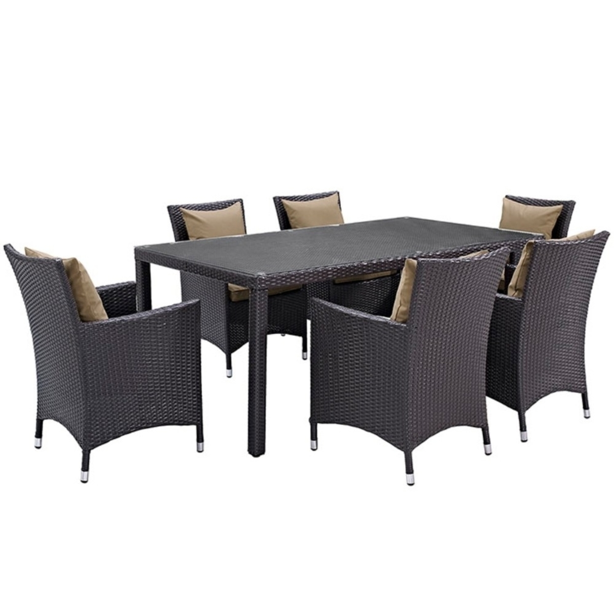 "Convene 7 Piece Outdoor Patio Dining Set, Espresso Mocha Size : 25.5""lx24.5\""wx34.5\""h"