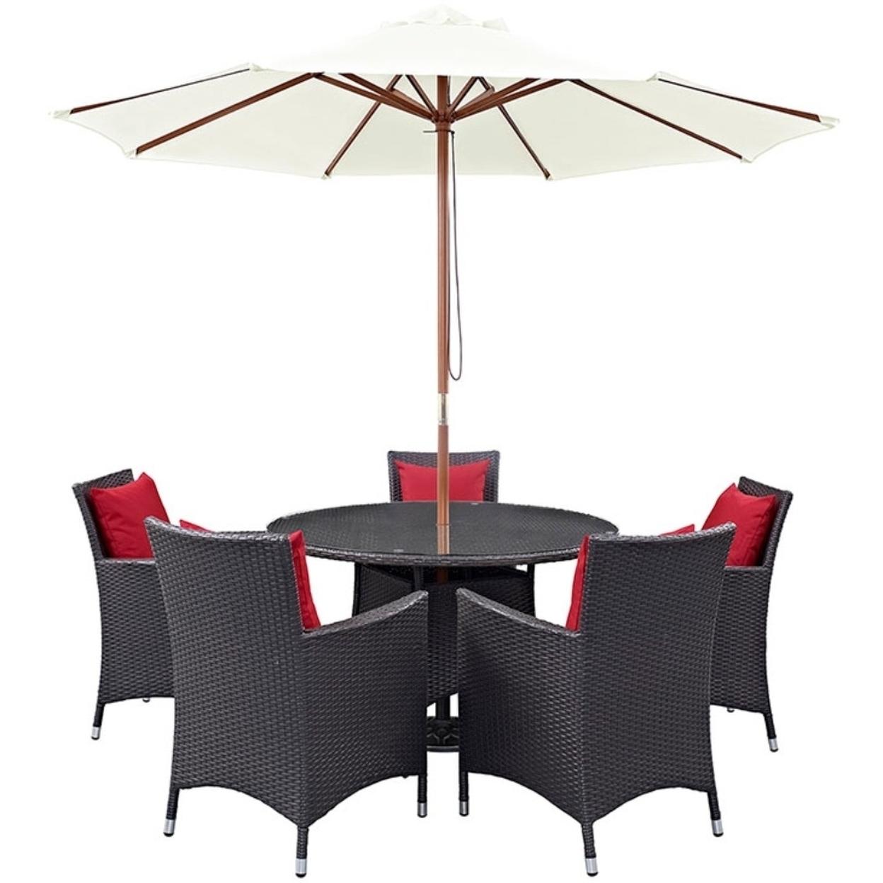 "Convene 7 Piece Outdoor Patio Dining Set, Espresso Red Size : 47\""lx47\""wx29\""h"