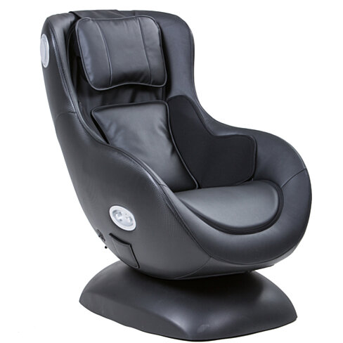 Curvy Leather Upholstered Massage Chair with Bluetooth Speaker, Black