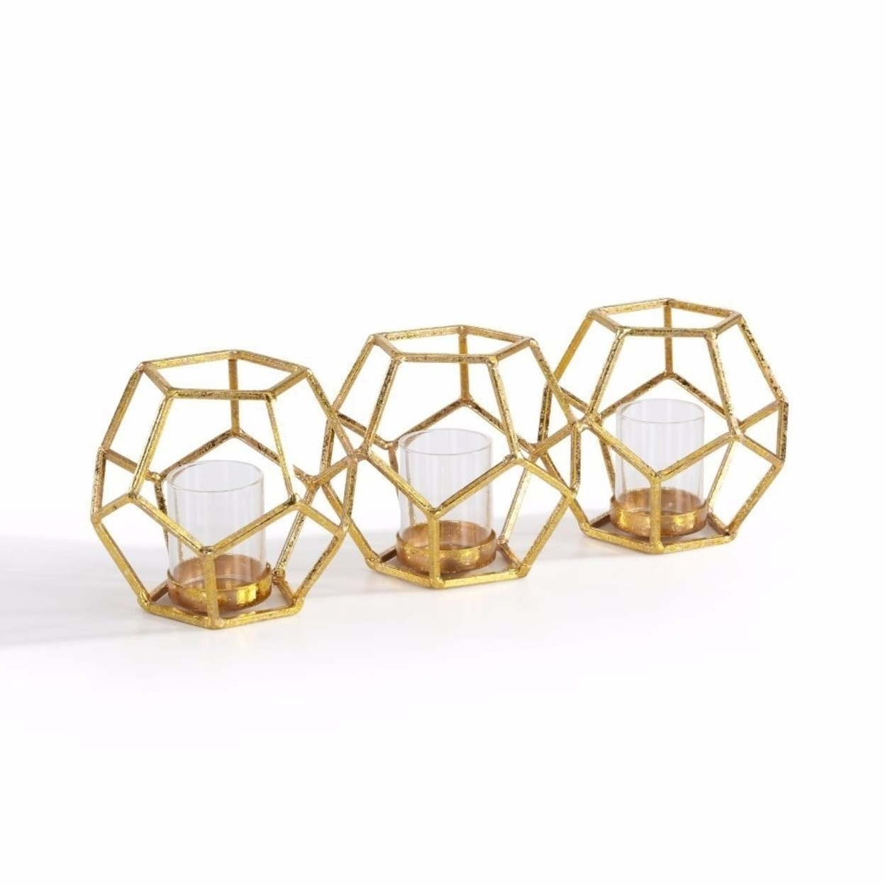 Sparkling Gold Polyhedron Triple Candle Holder 58995459c98fc433fb5891c5