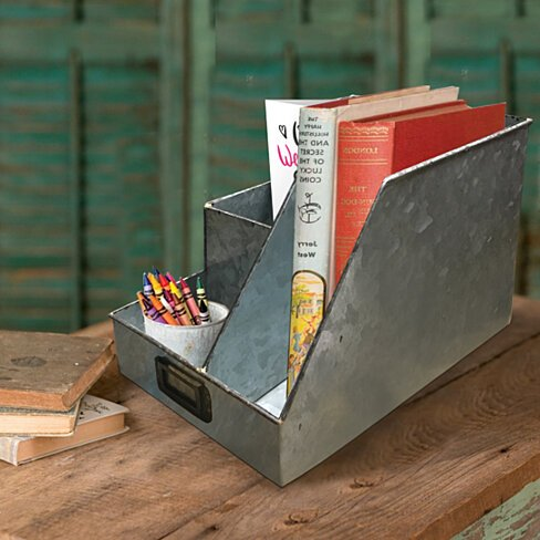 Decorative Multipurpose Metal Caddy with 4 Open compartment, Galvanized Gray