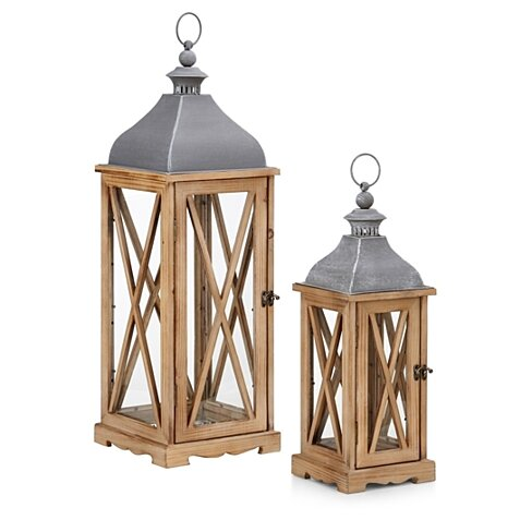 Decorative Wooden Lantern with X Cross Motif Design, Brown and Silver, Set of Two