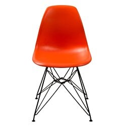 Deep Back Plastic Chair with Metal Eiffel Style Legs, Orange and Black
