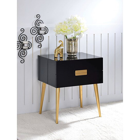 Buy Denvor Square End Table With Drawers, Black U0026 Gold By Benzara Inc On  Dot U0026 Bo