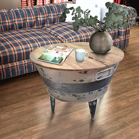 Distressed Wood and Metal Storage Coffee Table with Hinged Lift Top, Brown and Gray