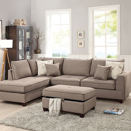 Excellent Dorris Fabric 3 Piece Sectional With Storage Ottoman Light Brown Squirreltailoven Fun Painted Chair Ideas Images Squirreltailovenorg