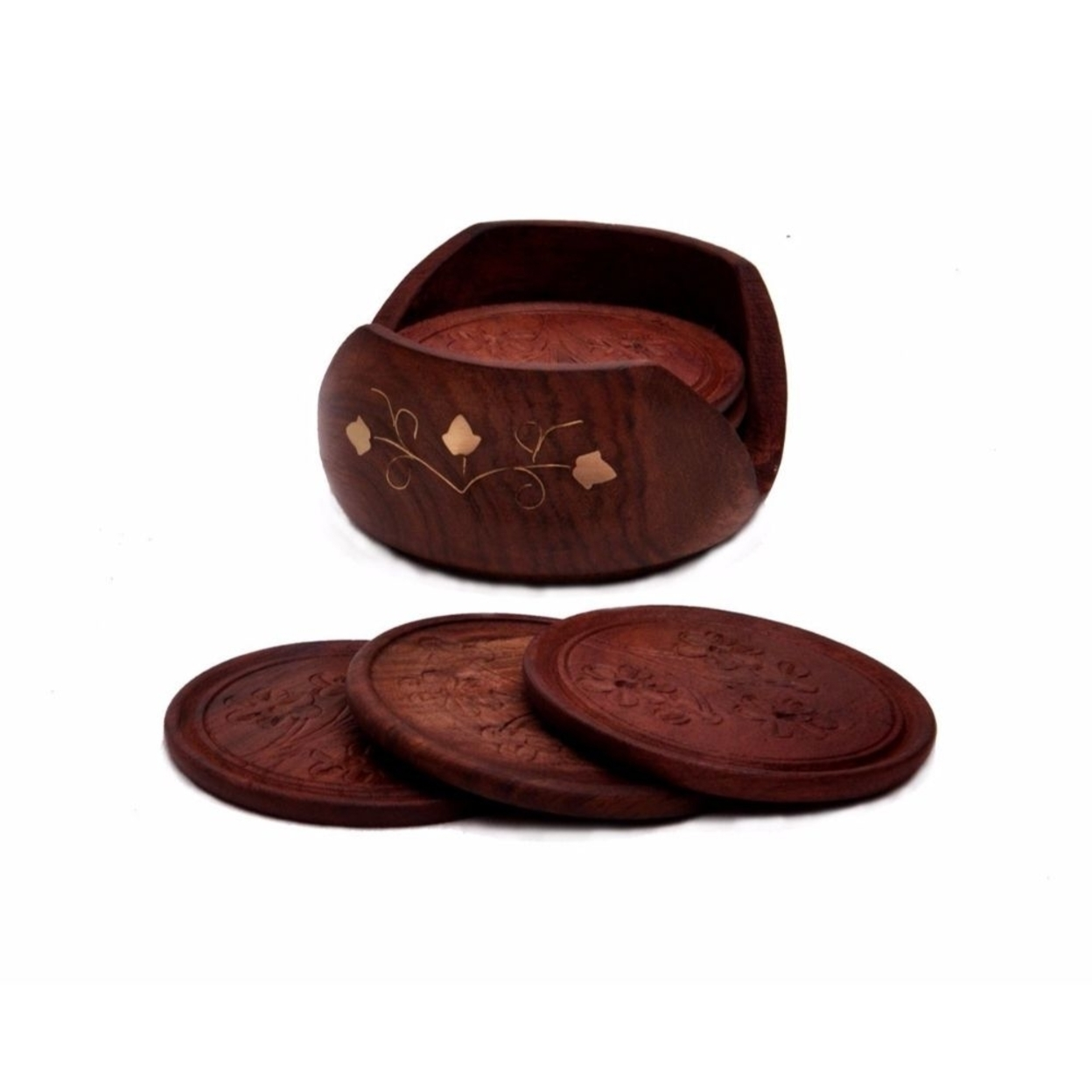 Drink Coasters - SouvNear Rosewood Retro Wood Coaster, Set Of 6 59d009ac2a00e46ddd0a3729