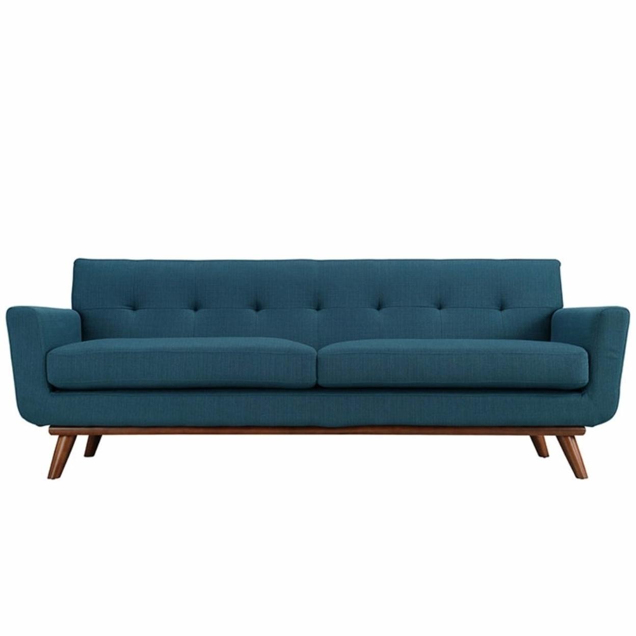 Engage Upholstered Sofa, Azure