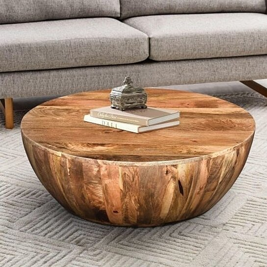 Astounding Mango Wood Coffee Table In Round Shape Dark Brown Machost Co Dining Chair Design Ideas Machostcouk