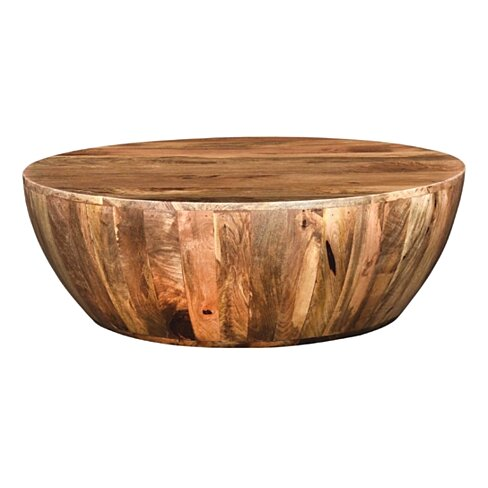 Mango Wood Coffee Table In Round Shape, Brown