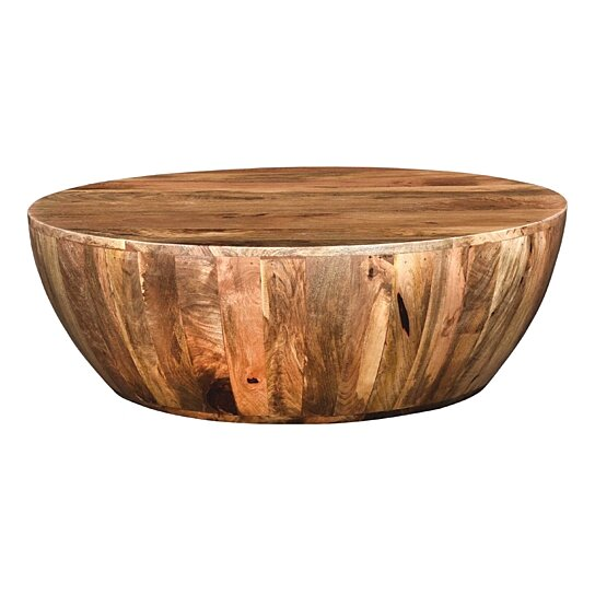 Buy Mango Wood Coffee Table In Round Shape Dark Brown By