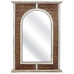 Farmhouse Style Wooden Framed Mirror in Arc Shape, Brown and White