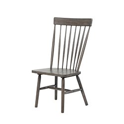 Farmhouse Wooden Side Chairs with Slated Backrest and Flared Legs, Gray, Set of Two