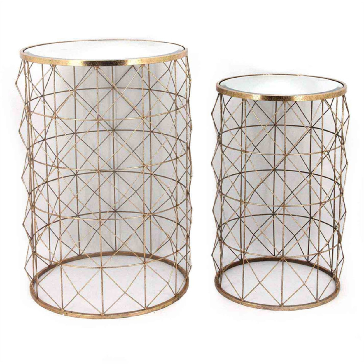 Flashy Figured Set of 2 Metal Accent Tables, Gold 5a324f2c2a00e4342719d148