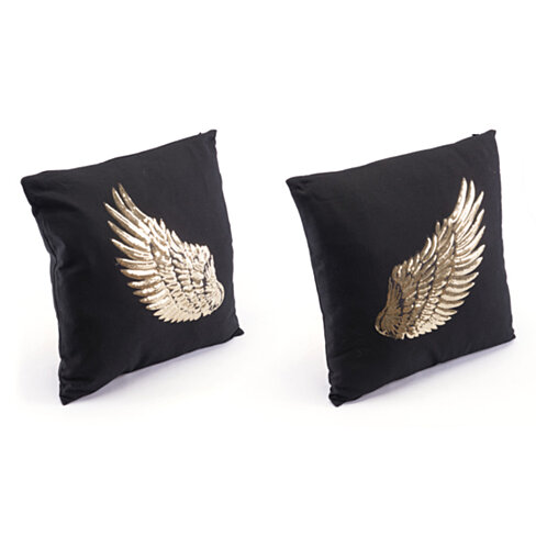 Foam Metallic Wings Set Of 2 Pillows, In Black And Golden