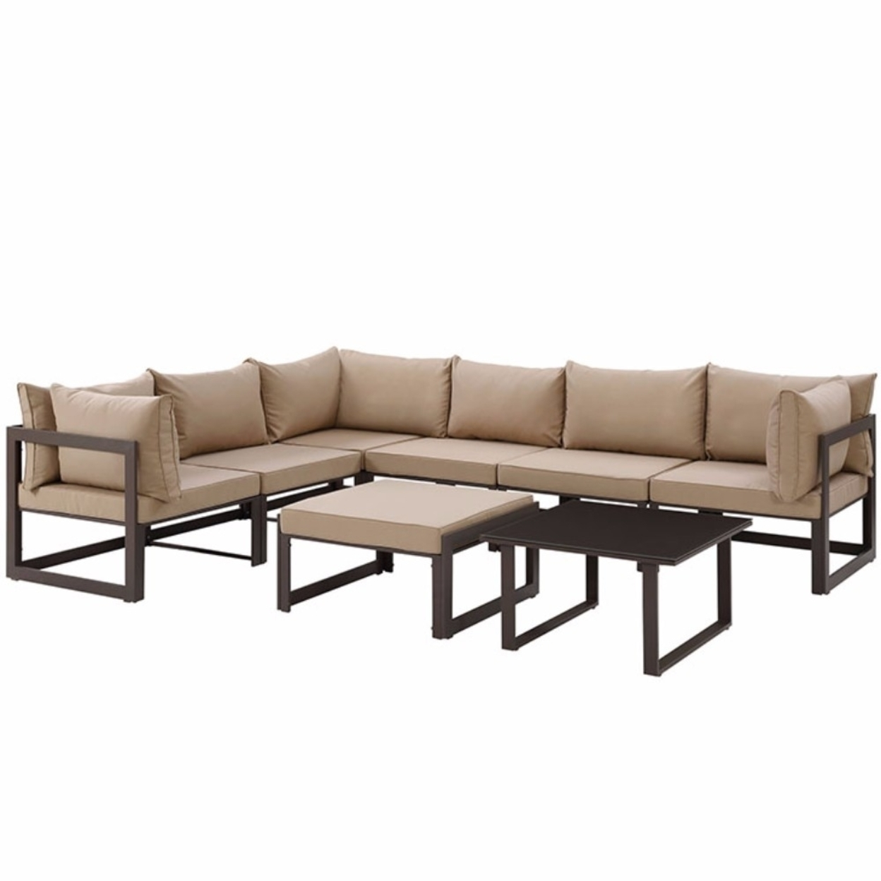 Fortuna 8 Piece Outdoor Patio Sectional SofaSet , Brown Mocha 59bf6a3de22461649a11226a