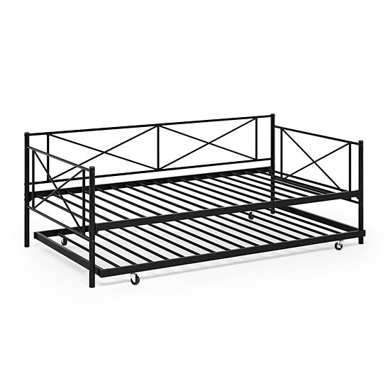Buy Furinno Angeland Carca Metal Daybed Twin Black By Benzara Inc On Dot Bo