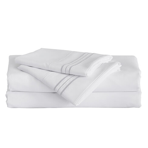 Furinno Angeland Vienne 3-Piece Microfiber Bed Sheet Set, Twin XL, White