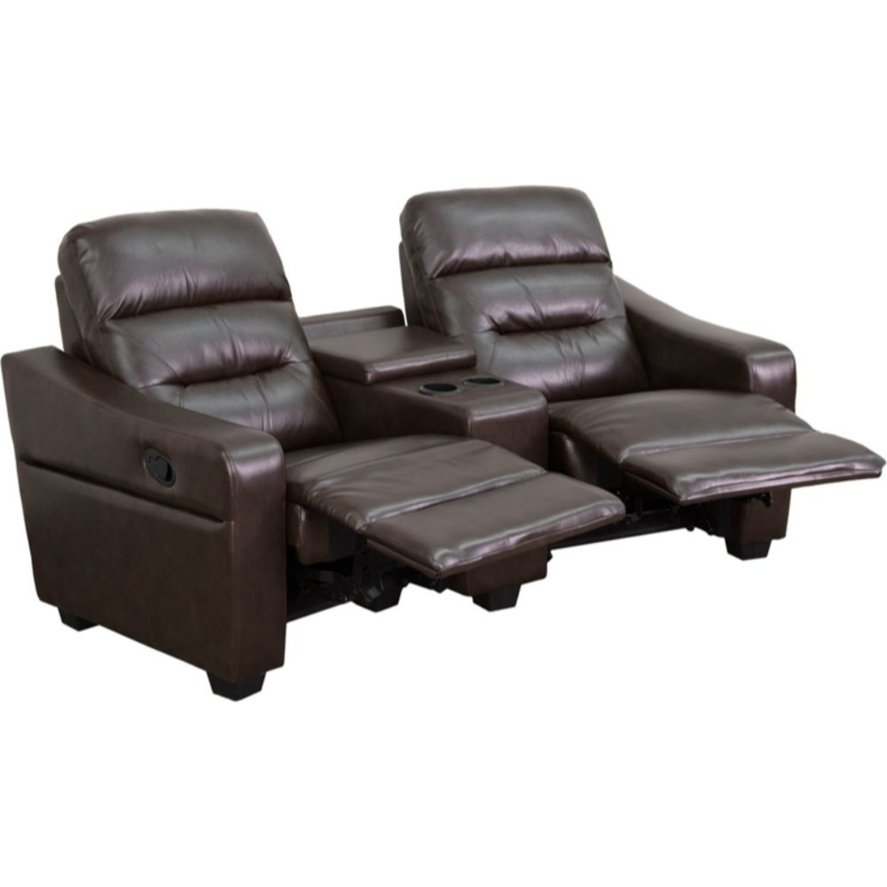 Futura Series 2-Seat Reclining Brown Leather Theater Seating Unit with Cup Holders 589954dac98fc433fe5a1614
