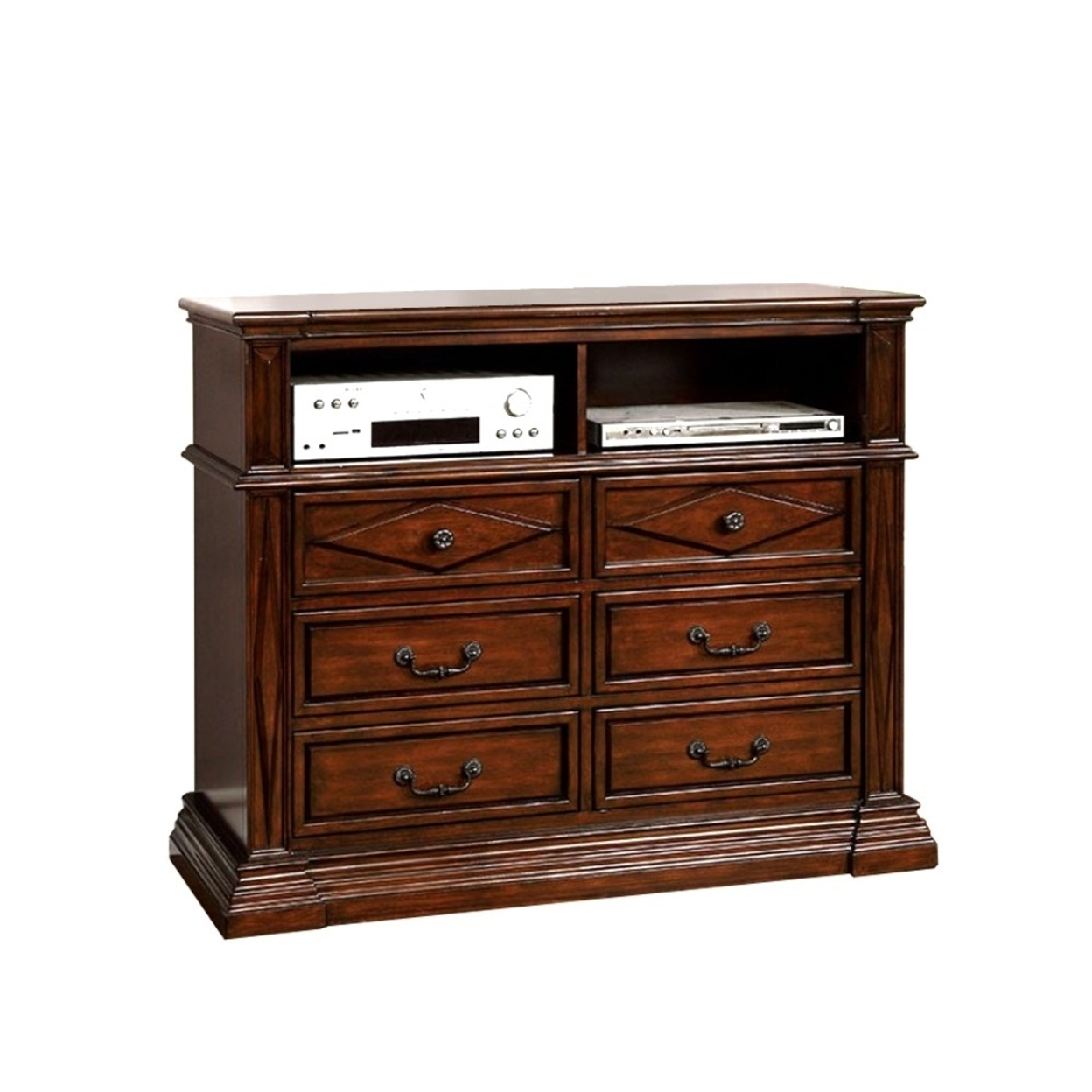 Gayle Transitional Style Media Chest, Cherry Finish