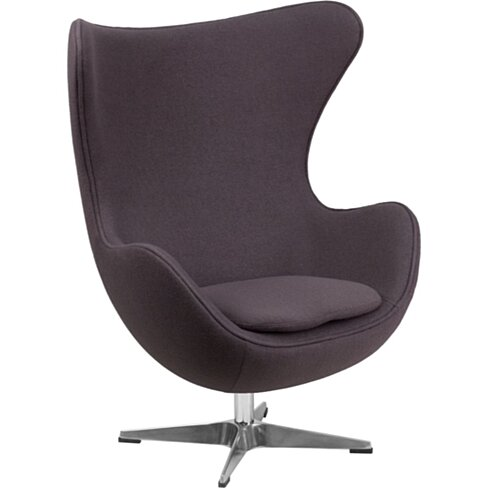 Gray Wool Fabric Egg Chair Gray