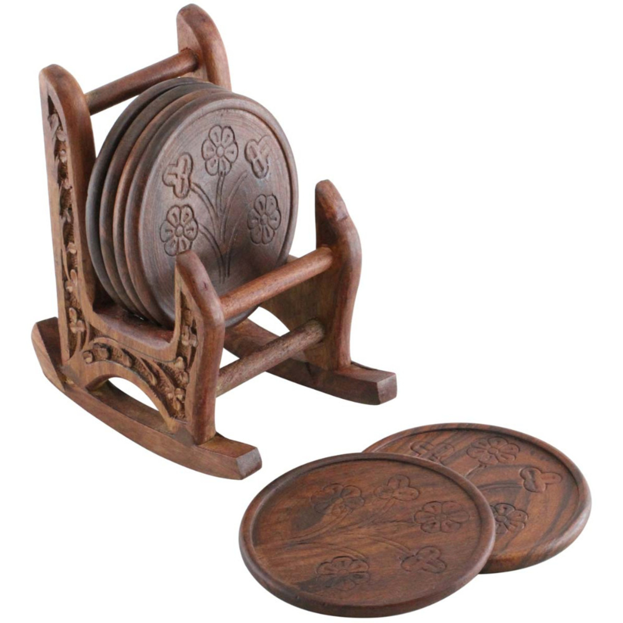 Handmade Coaster Set Of 6 With Rocking Chair Holder In Mango Wood Benzara Brand 5a421d482a00e42fa91cfba0
