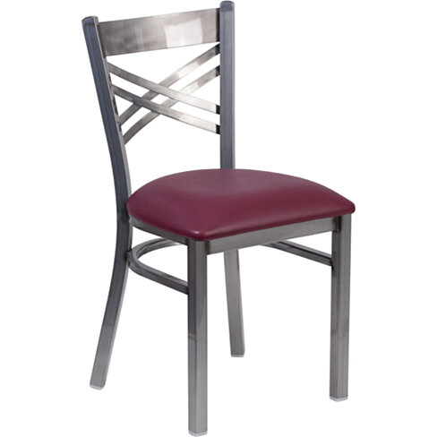 HERCULES Series Clear Coated ''X'' Back Metal Restaurant Chair, 6FOB-CLR-BURV-GG