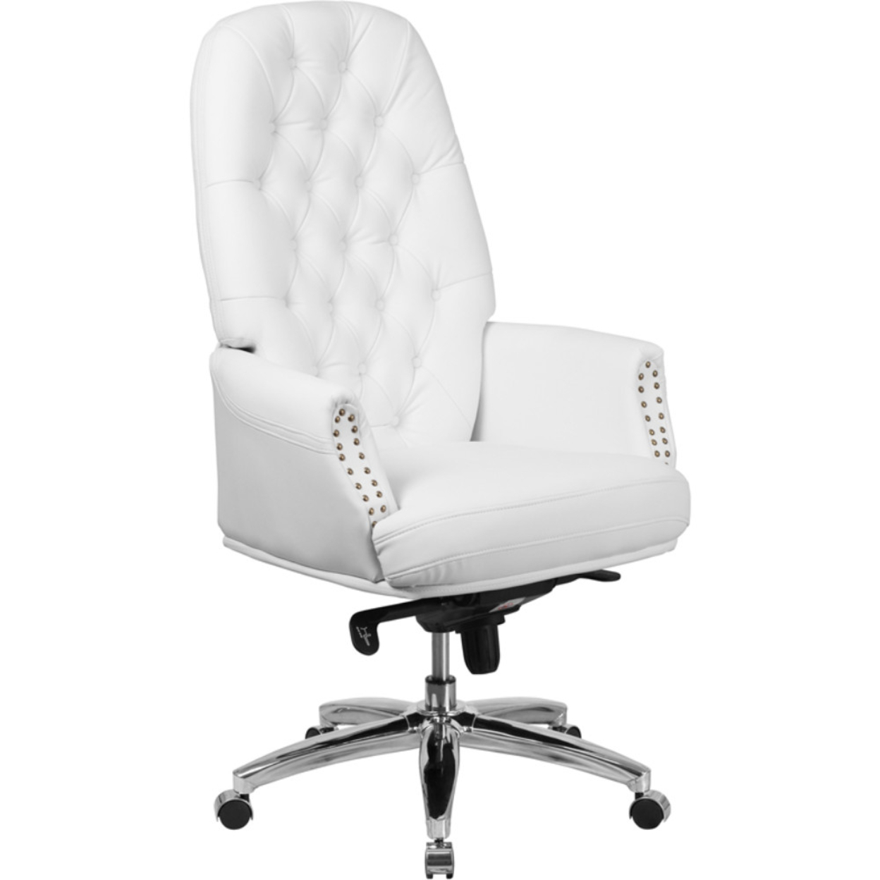 High Back Traditional Leather Multifunction Executive Swivel Chair,White 5a17f4352a00e436b8781c81