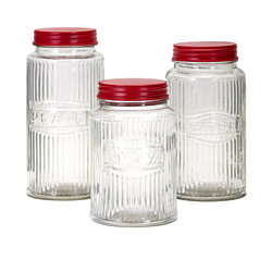 Homestead Christmas Glass Peace, Hope, Joy Jars - Set of 3 - Clear - Benzara.