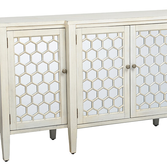 Honeycomb Design Wooden Sideboard With Four Door Storage White And Clear