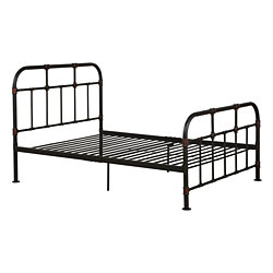 Industrial Pipe Detailed Metal Full Size Bed, Sandy Gray