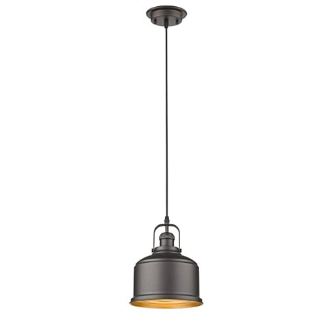 "IRONCLAD Industrial-style 1 Light Rubbed Bronze Ceiling Mini Pendant 8"" Wide , CHL-CH2D087RB08-DP1"