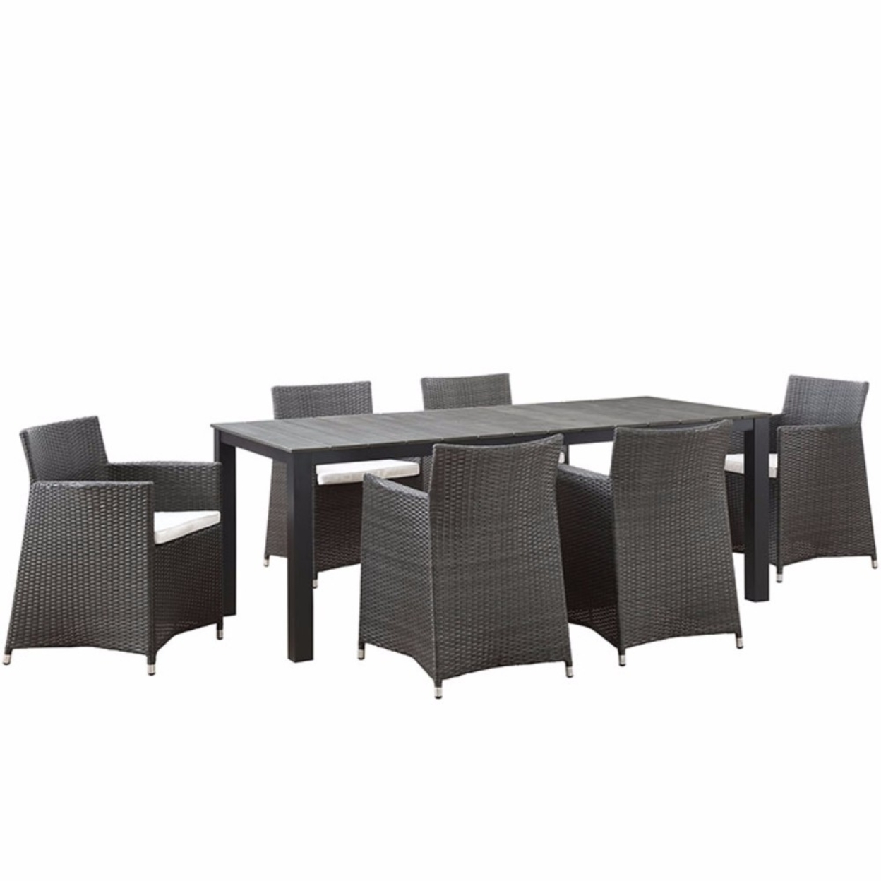 "Junction 7 Piece Outdoor Patio Dining Set, Brown White Size : 81.5""lx126.5\""wx32\""h"