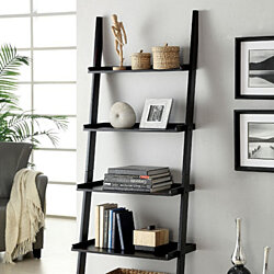 Sion Contemporary Ladder Shelf, Black Finish