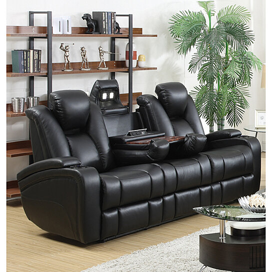 Buy Leatherette Upholstered Contemporary Power Reclining Sofa With