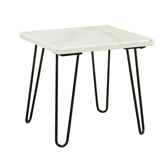 Buy Marble Top End Table With Hairpin Style Metal Legs White And