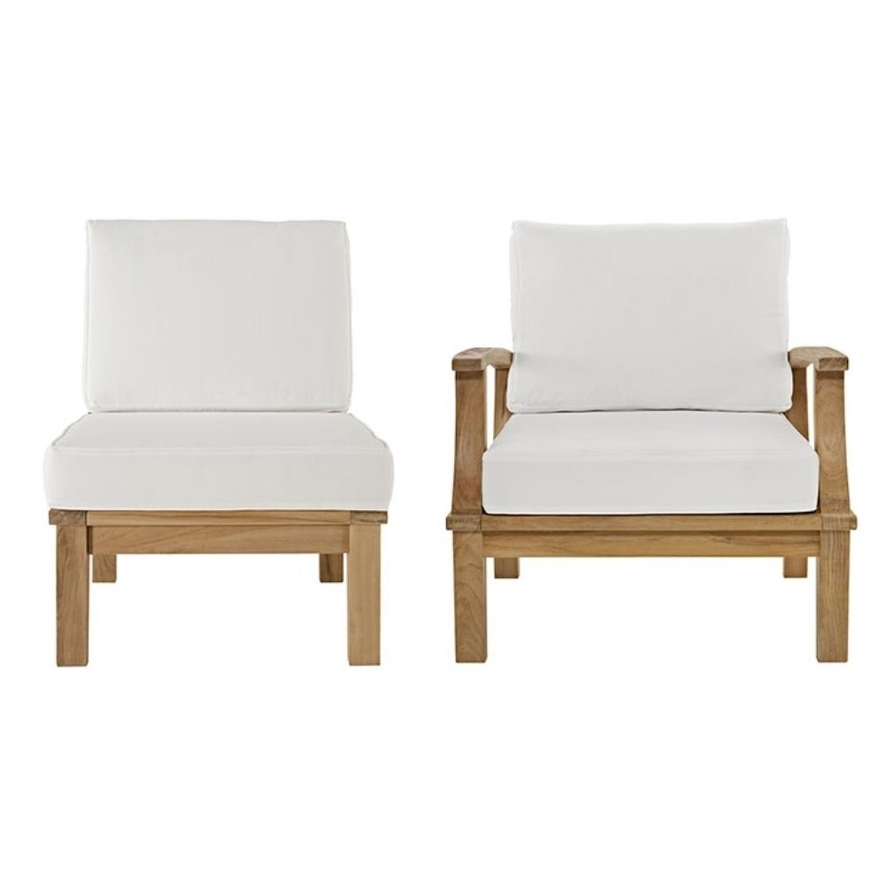 "Marina 2 Piece Outdoor Patio Teak Sofa Set, Natural White Size : 31.5\""Lx32.5\""Wx31.5\""H 59a7a0702a00e45d3605aa86"