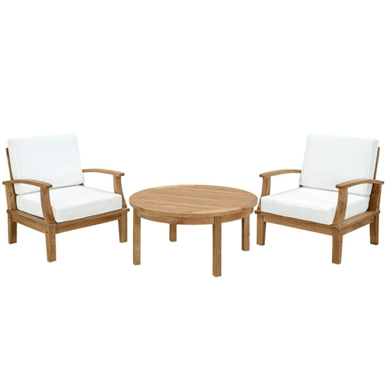 Marina 3 Piece Outdoor Patio Teak Sofa Set, Natural White 5a0c04c82a00e40dff15468a