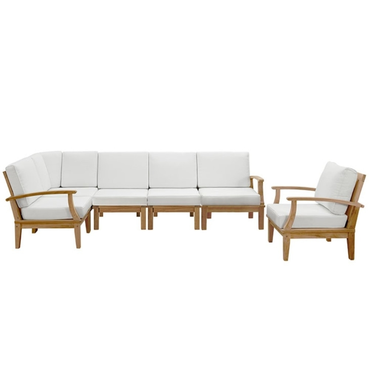 Marina 6 Piece Outdoor Patio Teak Sofa Set, Natural White 59a7a0702a00e45d3605aa7a