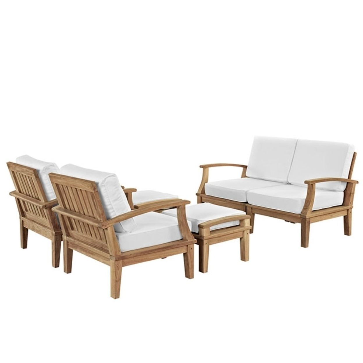 Marina 6 Piece Outdoor Patio Teak Sofa Set, White 5a0c04c8e224616d503ae45b