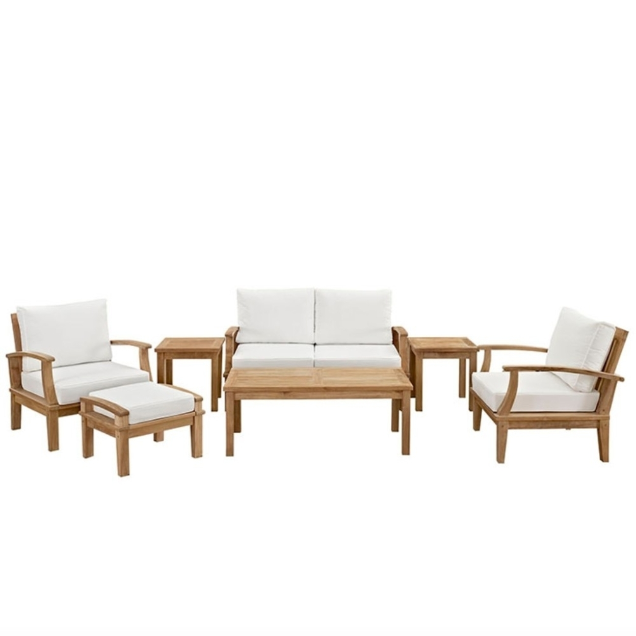 Marina 7 Piece Outdoor Patio Teak Sofa Set, Natural White 5a0c04c8e224616d4e4fd333