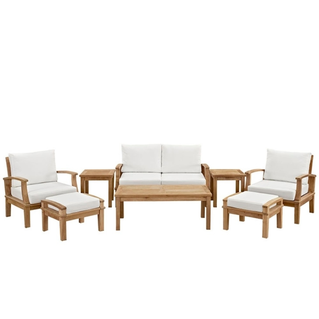 Marina 8 Piece Outdoor Patio Teak SofaSet, Natural White 5a0c04c8e224616d503ae44f
