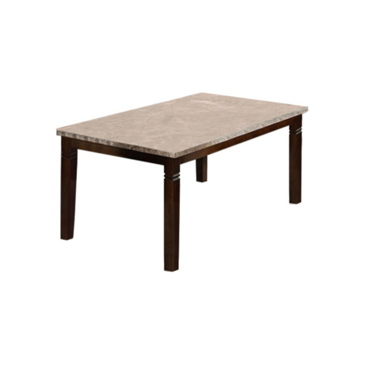 Marstone Contemporary Style Marble Top Dining Table, Brown Cherry Finish