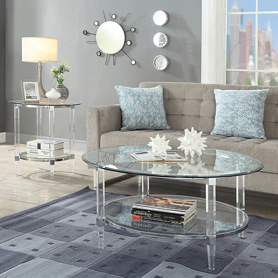 Buy Metal Accented Glass Top Oval Coffee Table With Open Shelf And