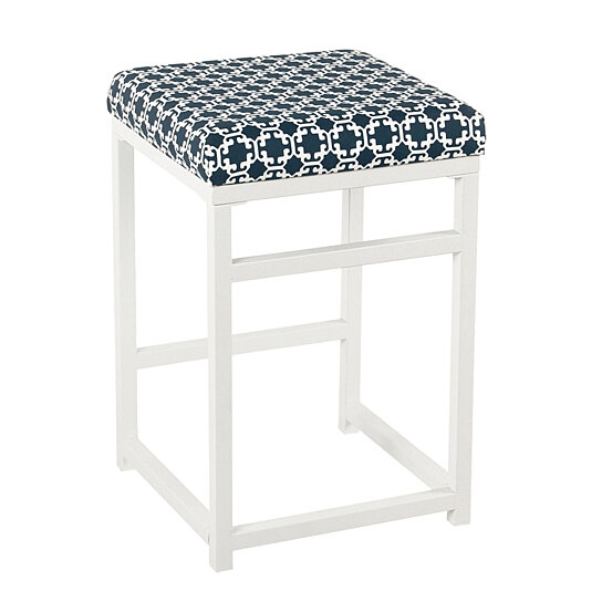 Strange Metal Counter Stool With Fabric Upholstered Geometric Pattern Seat White And Blue Pabps2019 Chair Design Images Pabps2019Com