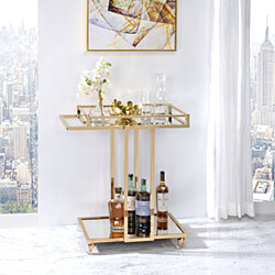 Metal Framed Serving Cart with Two Mirrored Open Shelves, Gold and Clear